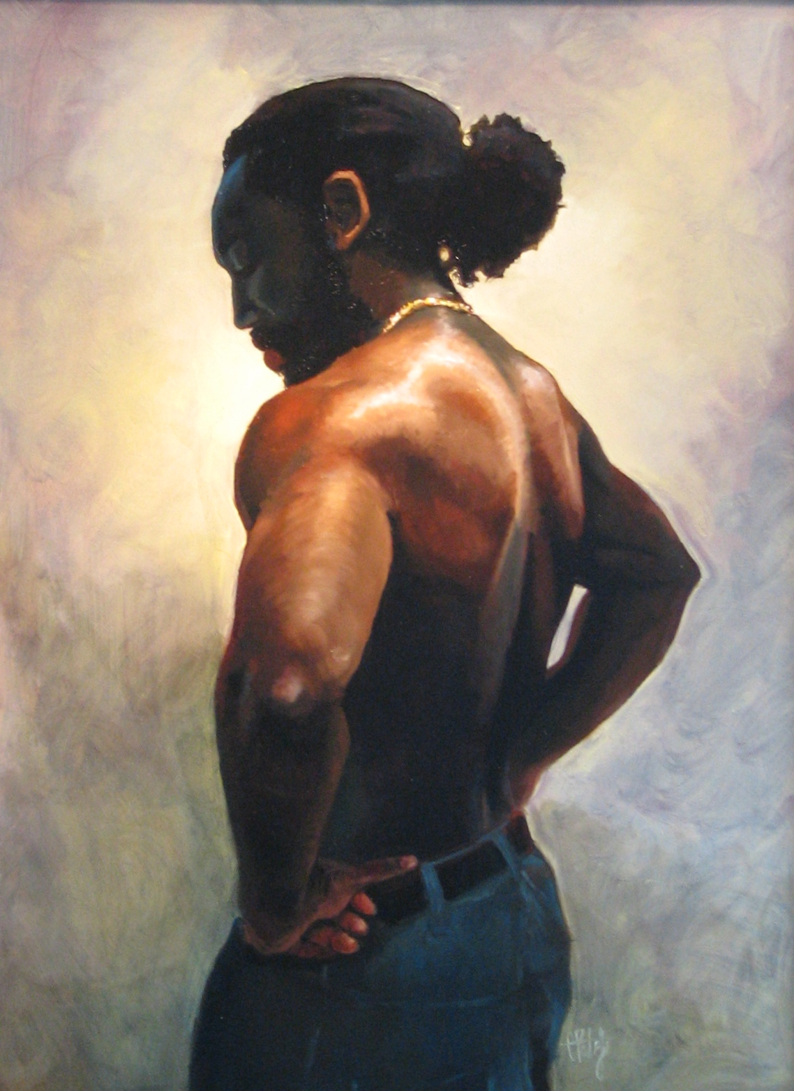 Oil painting of a strong black man with great skin tones. Fine art portraits by Charles Pate in Greenville SC