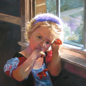 Oil painting of a girl in a window. Fine art portraits by Charles Pate in Greenville SC