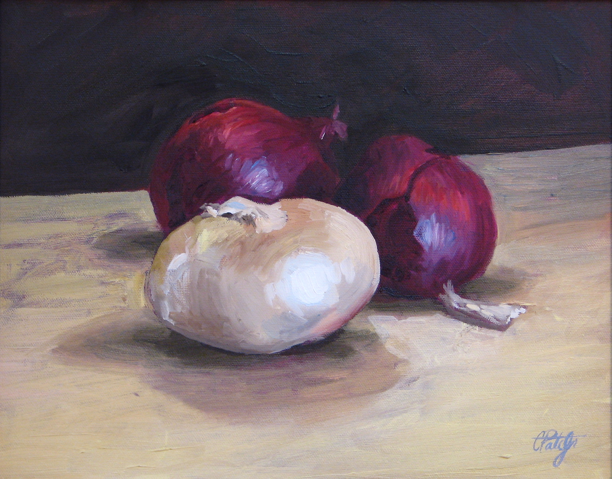 Oil and Canvas still life Painting of onions by Charles Pate Jr in Greenville SC