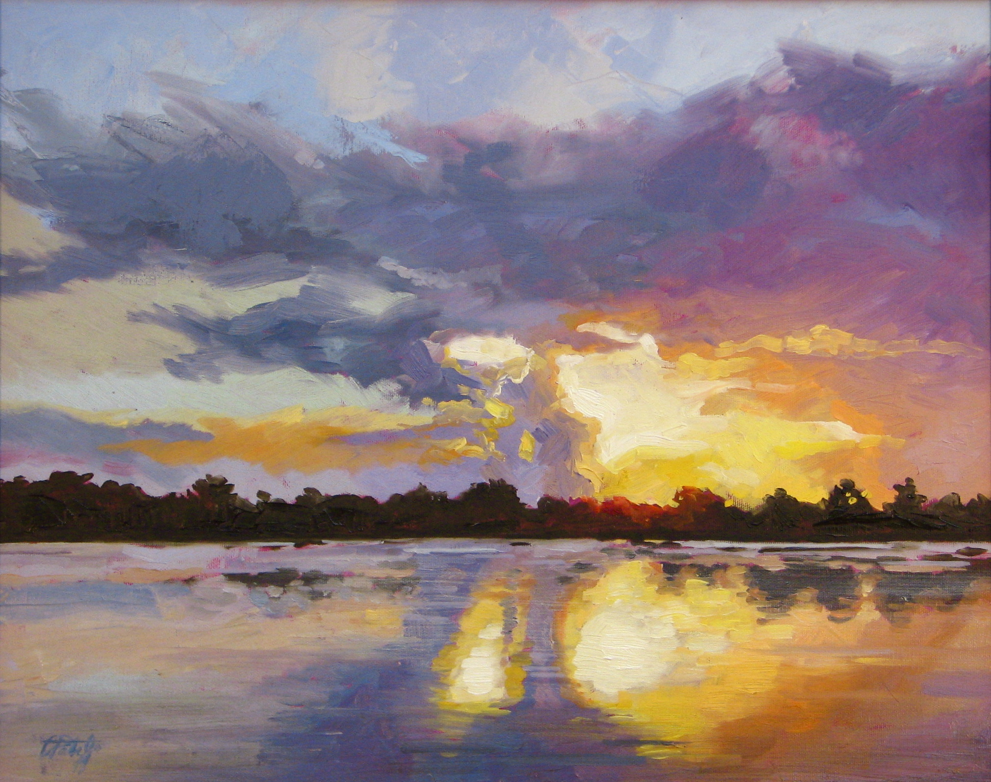 Impressionist style painting of sunset. Oil painting by Charles Pate Jr in Greenville SC