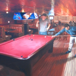 Oil and Canvas of men playing pool by Charles Pate Jr in Greenville SC