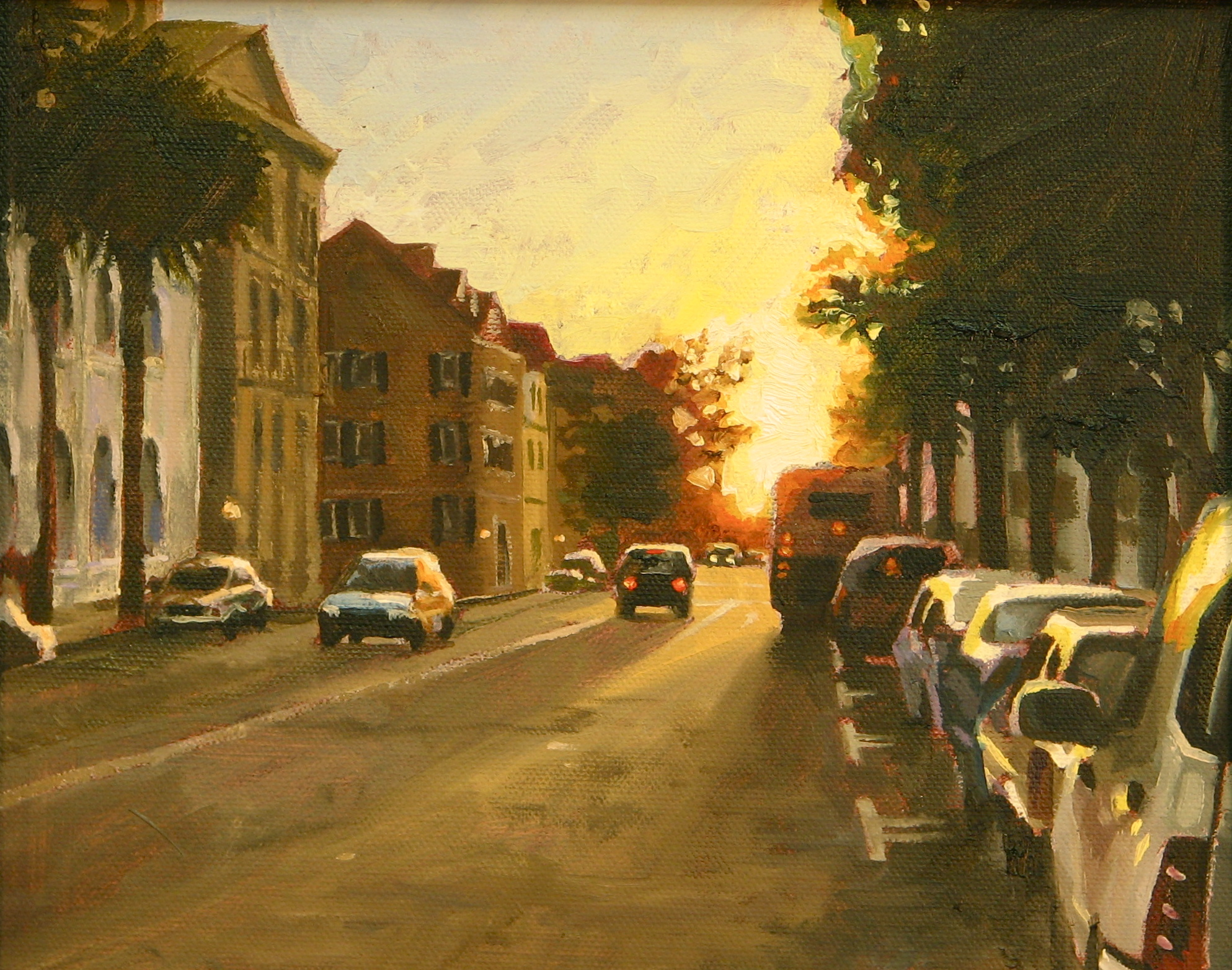 Impressionist style painting of sunset in Charleston. Oil painting by Charles Pate Jr in Greenville SC