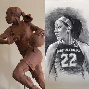 bronze, sculpture, park, greenville, sculpture, artist, south carolina, sc, a'ja, aja, wilson, gamecocks, usc, basketball, portrait