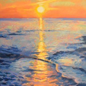 Impressionist style painting of sunset on the carolina coast. Oil painting by Charles Pate Jr in Greenville SC