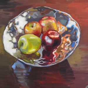 Oil and Canvas still life Painting of Apples by Charles Pate Jr in Greenville SC