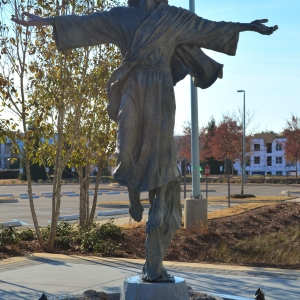 Bronze sculpture of the Ascending Christ Jesus at St. Francis Hospital by Charles Pate Jr in Greenville SC