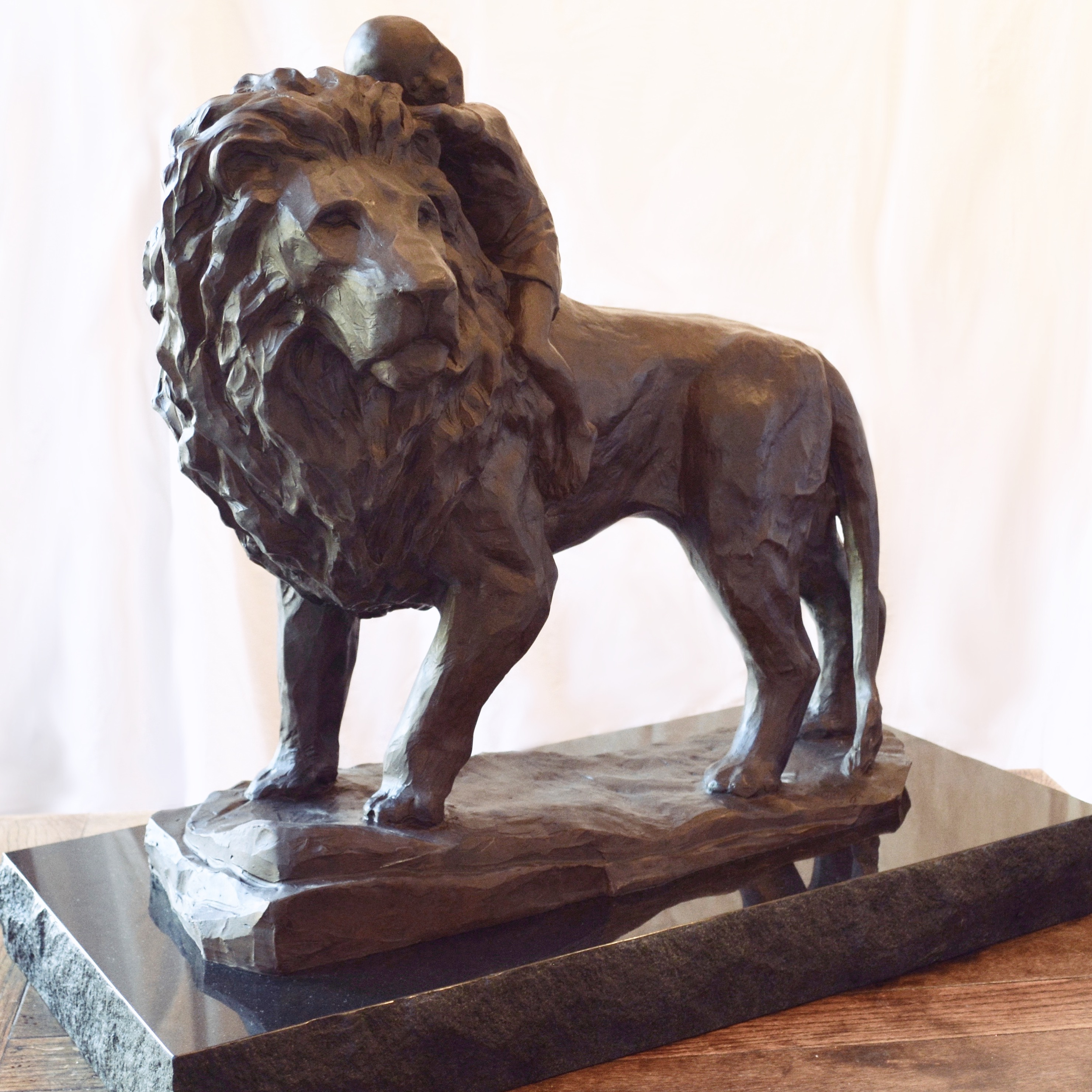 Fear Not sculpture for Greenville Memorial Hospital children's cancer treatment center. The bronze lion was made by Charles Pate Jr