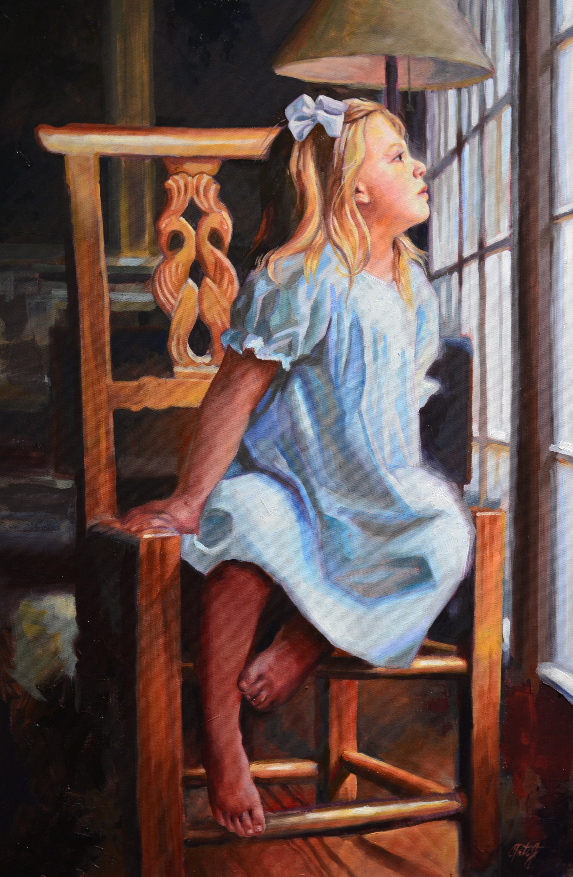 Oil painting of a girl in a blue dress. Fine art portraits by Charles Pate in Greenville SC