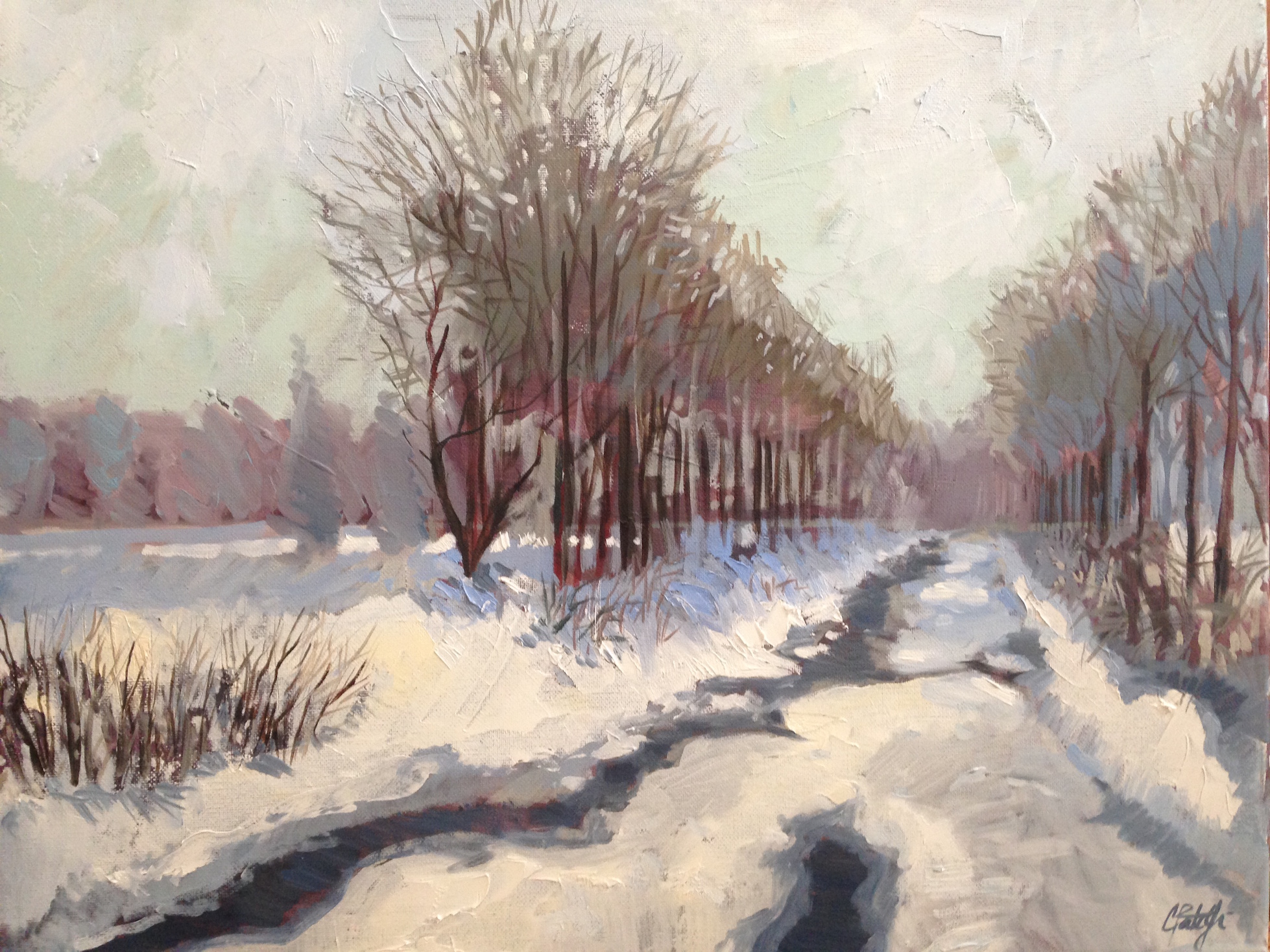 Impressionist style painting of stream in snow. Oil painting by Charles Pate Jr in Greenville SC