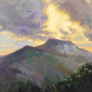 Impressionist style painting of mountains. Oil painting by Charles Pate Jr in Greenville SC