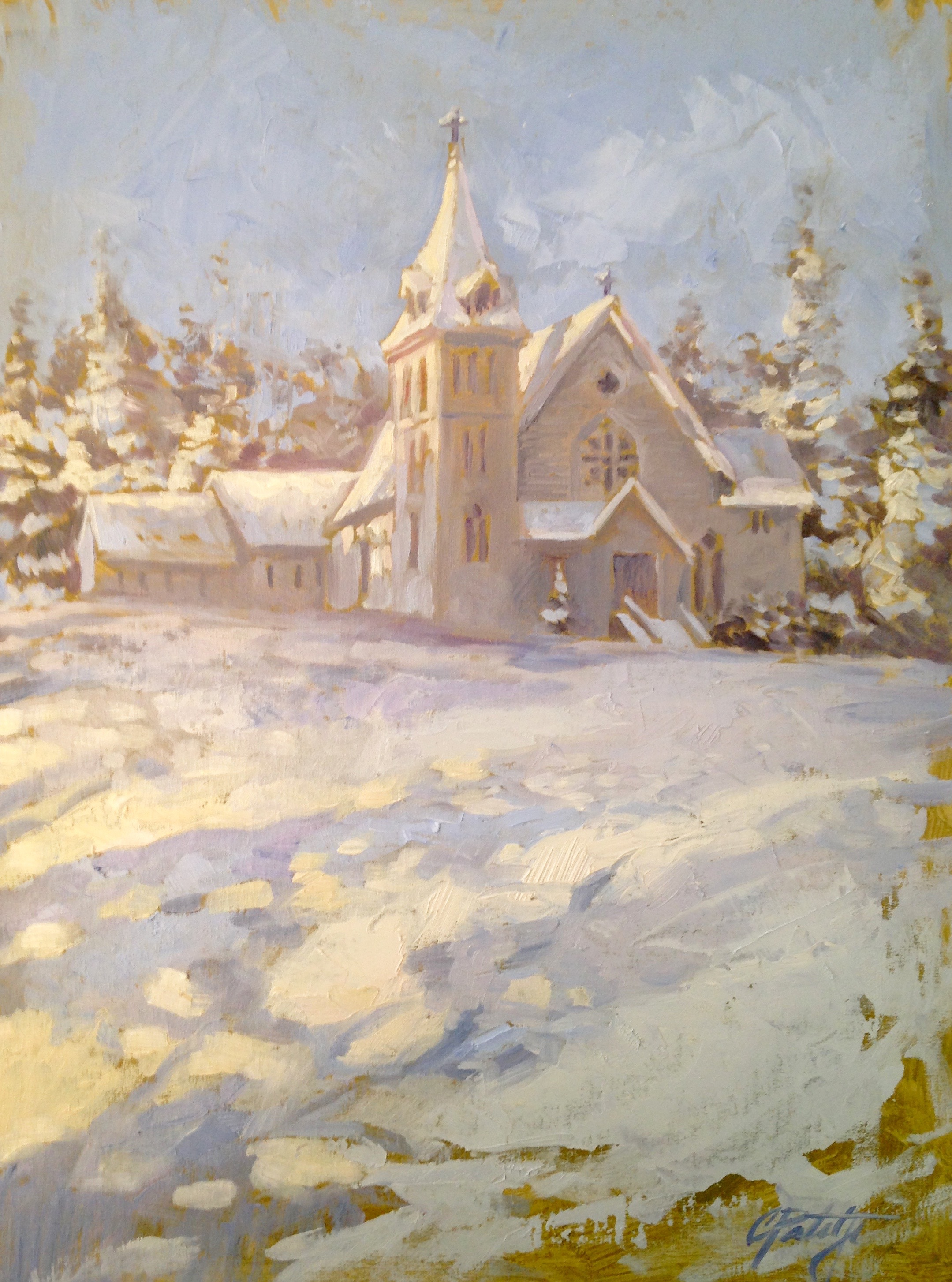 Impressionist style painting of church in snow. Oil painting by Charles Pate Jr in Greenville SC