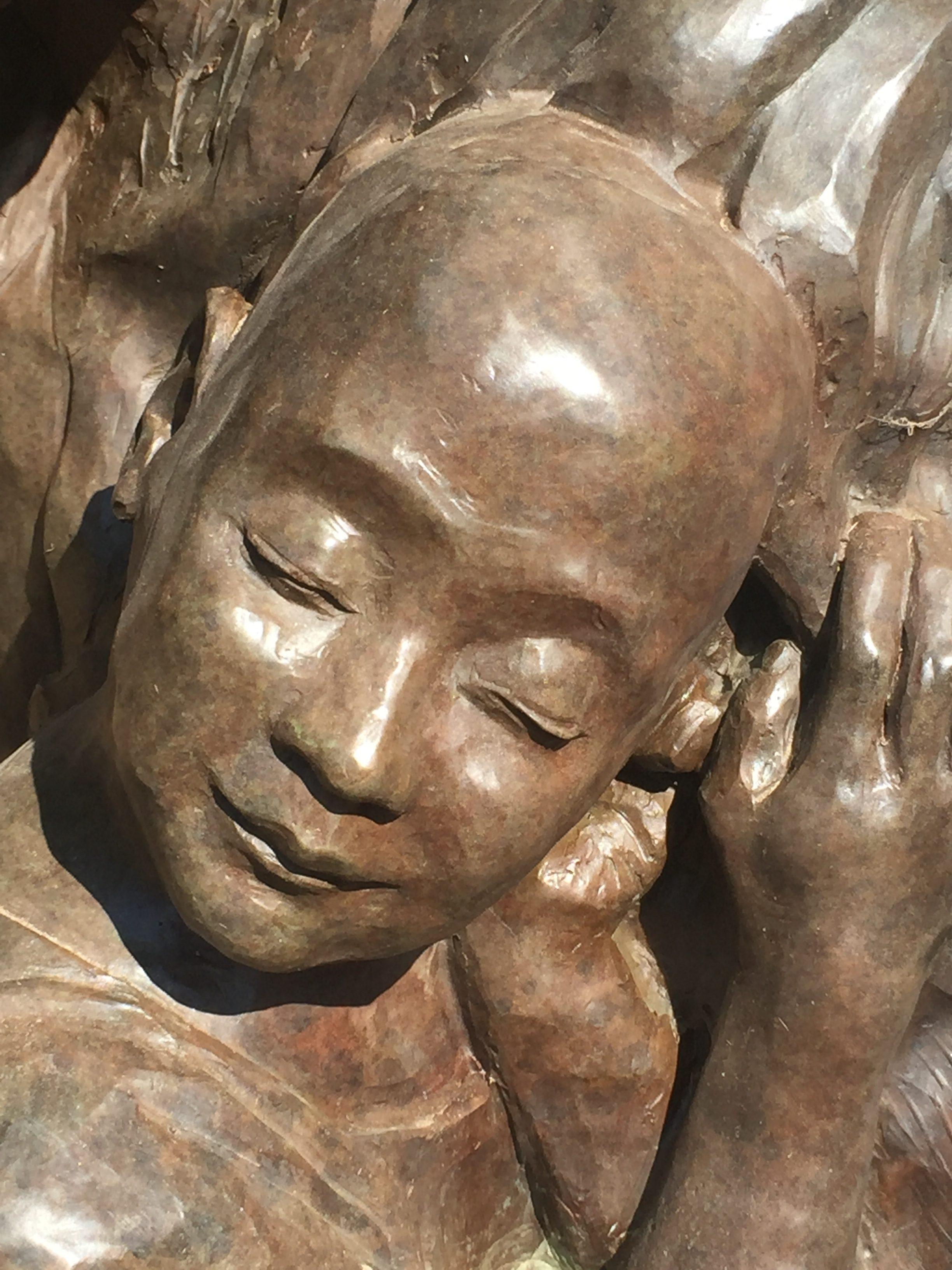 bronze, sculpture, face, child, portrait