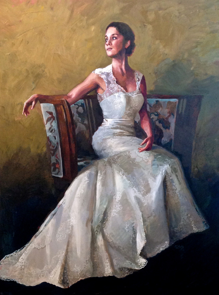 Oil painting of women in wedding dress