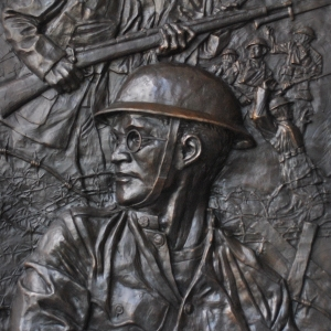 Low relief bronze sculpture monument of Veteran's in WWI by Charles Pate Jr in Greenville SC