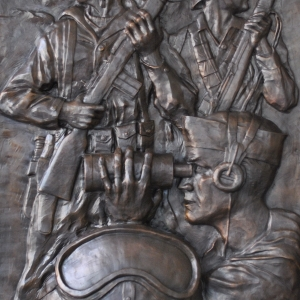 Low relief bronze sculpture monument of Veteran's in Korea by Charles Pate Jr in Greenville SC