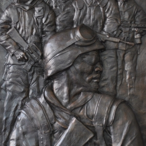 Low relief bronze sculpture monument of Veteran's in the Persian Gulf by Charles Pate Jr in Greenville SC