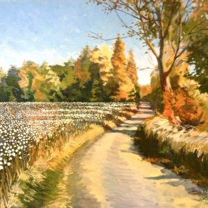 Impressionist style painting of cotton field. Oil painting by Charles Pate Jr in Greenville SC