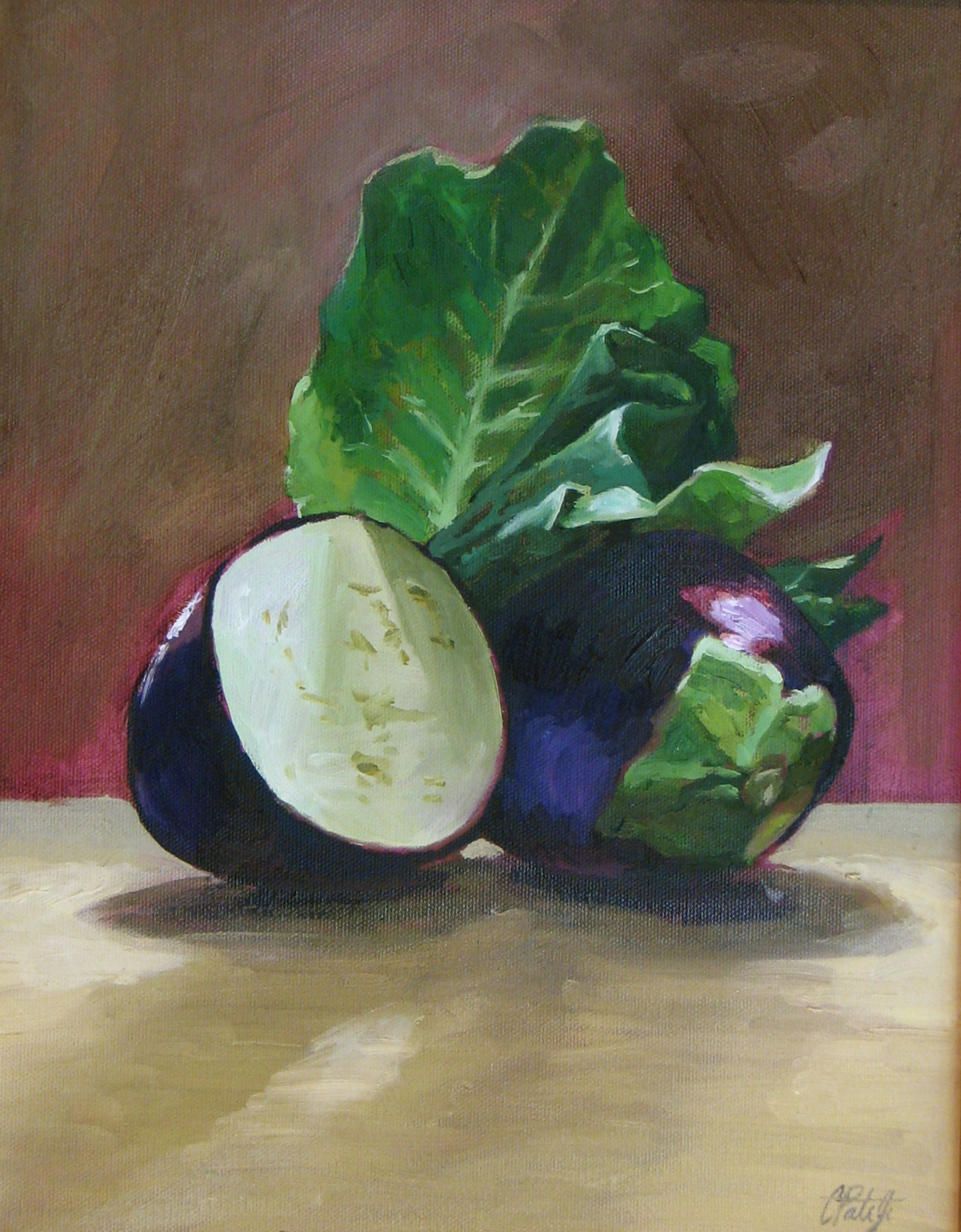 Oil and Canvas still life Painting of eggplant by Charles Pate Jr in Greenville SC