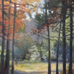 Impressionist style painting of sun lit forest. Oil painting by Charles Pate Jr in Greenville SC